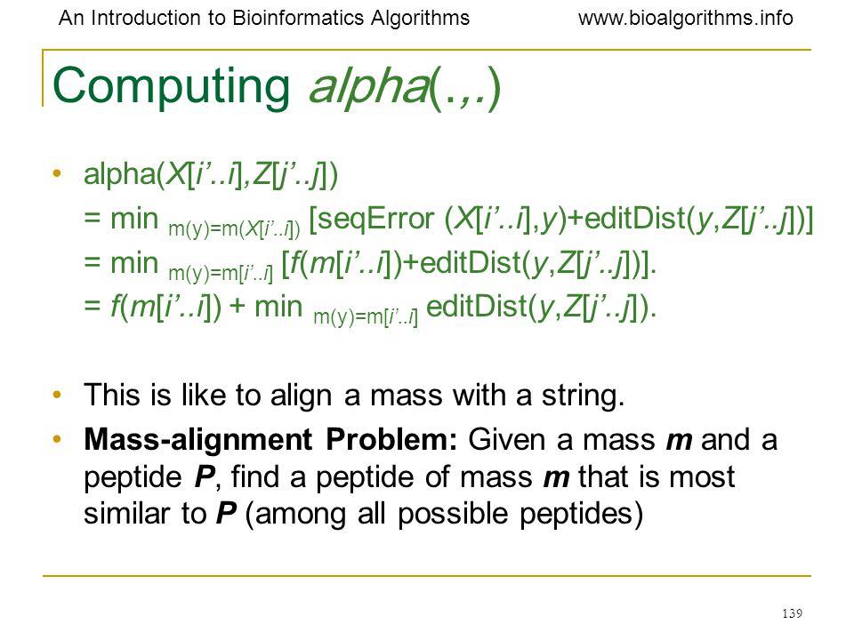 Computing alpha(.,.) alpha(X[i'..i],Z[j'..j])
